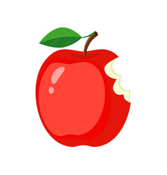 Red bitten apple isolated on vector