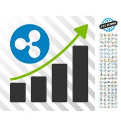 ripple up trend flat icon with bonus vector image