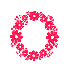 round frame made blooming flowers icon vector image