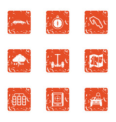 rugged terrain icons set grunge style vector image