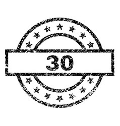 Scratched textured 30 stamp seal vector