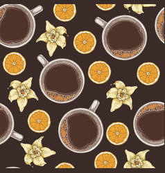 seamless pattern with coffee vanilla and orange vector image