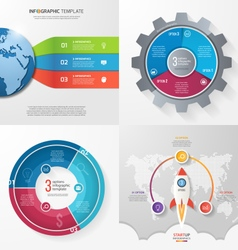 Set 4 infographic templates with 3 processes vector