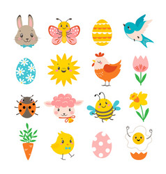 Set cute spring design elements for easter vector