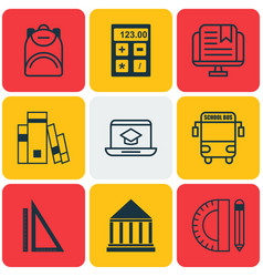 Set of 9 school icons includes transport vehicle vector