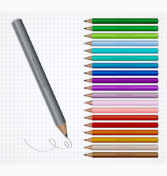 set of coloured pencils on grid vector image