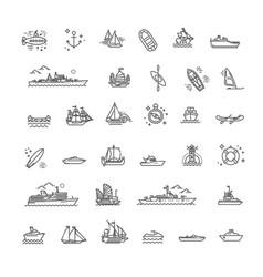 Ships - set modern plain line design vector