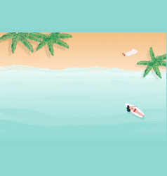Summer beach top arial view background watercolor vector