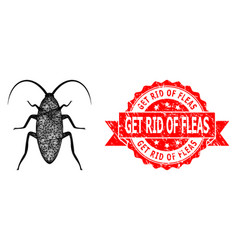Textured get rid fleas seal and network vector