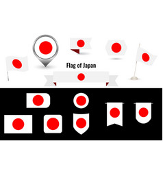 The flag japan big set icons and symbols vector