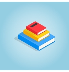 Three books on each other icon isometric 3d style vector