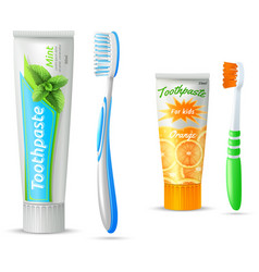 Toothpaste And Toothbrush For Kids And Adults vector