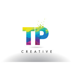 tp t p colorful letter origami triangles design vector image