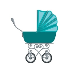 Traditional baby carriage with blue soft top vector