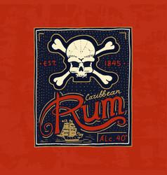 Vintage rum label badge strong alcohol logo vector