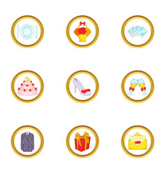Wedding party icons set cartoon style vector