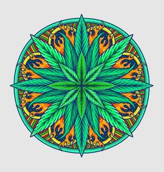 weed leaf mandala cannabis vector image
