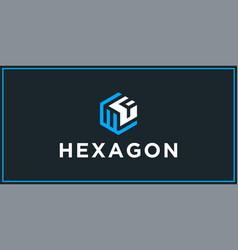 Wf hexagon logo design inspiration vector