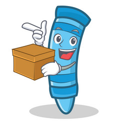 With box crayon character cartoon style vector