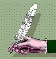 womans hand with a pen vector image