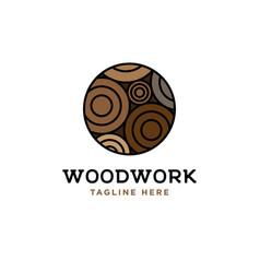 wood log design templatewood work lo vector image