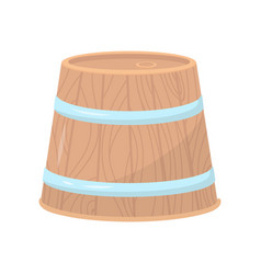 wooden barrel with two metal hoops large round vector image