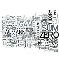 Zero sum games text word cloud concept vector