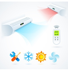air conditioners cool fun climate element icons vector image