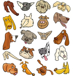 Cartoon funny dogs heads big set vector image