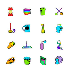 cleaning comics icons set cartoon vector image vector image