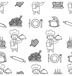 Cook white and black seamless pattern vector image vector image