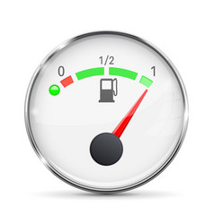 white fuel gauge with chrome frame full tank vector image vector image