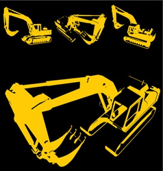 construction machine silhouette vector image vector image