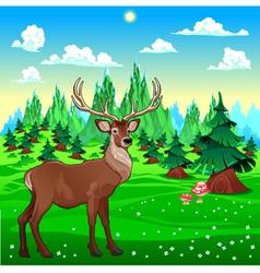 Deer in mountain landscape vector image