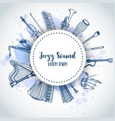 jazz background music instruments banner design vector image