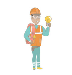 young hispanic electrician holding a lightbulb vector image vector image