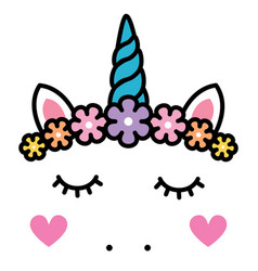 cute unicorn face with pastel rainbow flowers vector image vector image