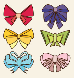 Set of various abstract bows and ribbons vector