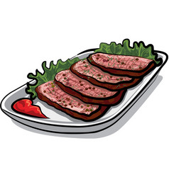 sliced roast beef vector image vector image