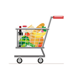 trolley from the supermarket with food dairy vector image vector image