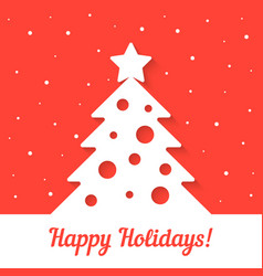 white xmas tree on red background vector image vector image