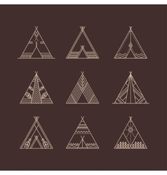 Wigwams with ornamental elements vector image