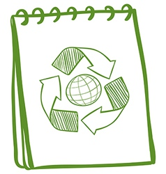 A green notebook with a drawing of the recycle vector image vector image
