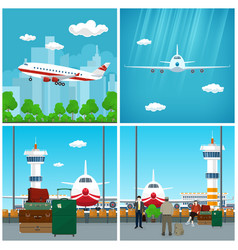 airport waiting room with people and airplane vector image