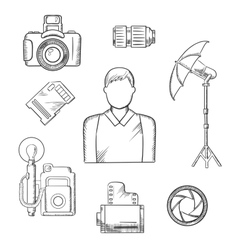 Photographer with equipment and items sketches vector image
