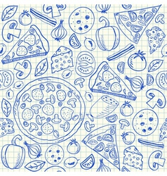 pizza doodles seamless pattern vector image vector image