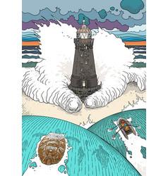 stormy ocean landscape vector image