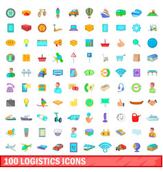 100 logistics icons set cartoon style vector