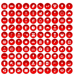 100 patisserie icons set red vector