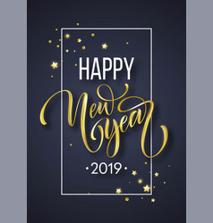 2019 new year hand written lettering with golden vector image
